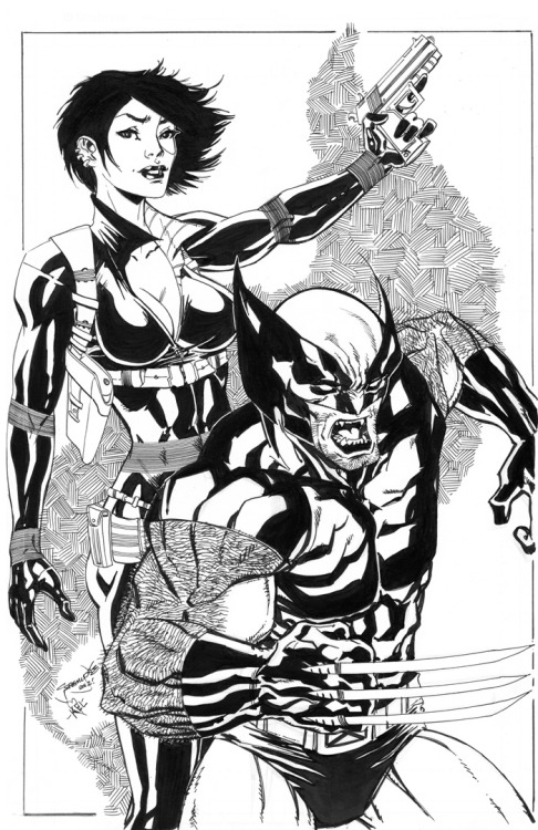 X-Force: Domino & Wolverine commission for C2E2 2012 by Jeremy Dale.
