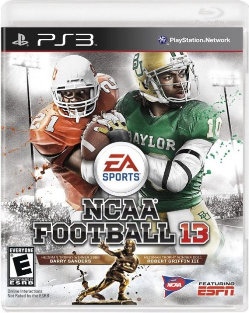 Dual-Threat: Robert Griffin III and Barry Sanders are on the cover of EA Sports' NCAA 13 video game.