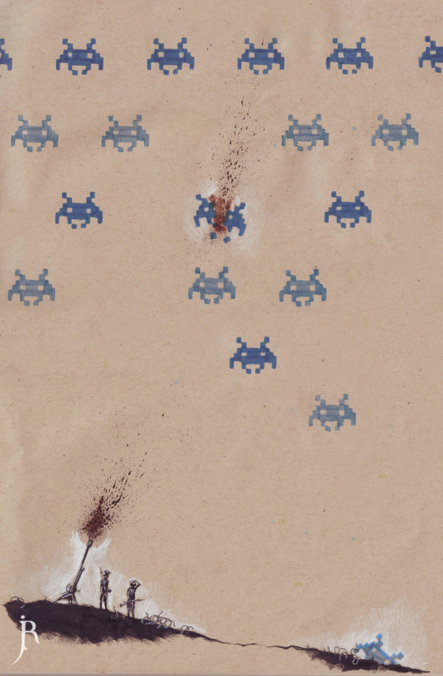 Artist's note: Space invaders vs. WWI flack cannons