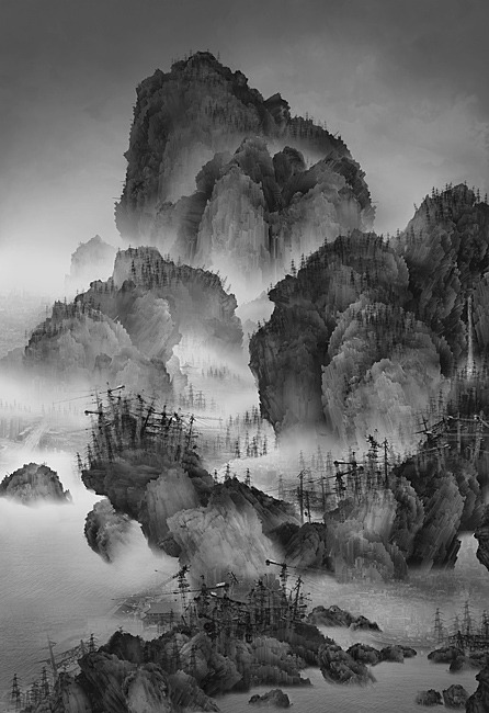 artchipel:  Yang Yongliang - Artificial wonderland 02. Ink-jet print on Epson fine art paper, 145x211cm (2010)