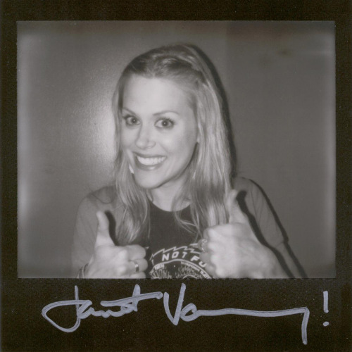 "Janet Varney - Because I love @janetvarney's podcast ""The JV Club"" and because she is the guest on this week's Never Not Funny (which is always especially hilarious when she is on). (this portroid was taken backstage at Never Not Funny's Pardcast-A-Thon 2011 on Impossible Project's Black Frame PZ600 UV+ Silver Shade film, and was auctioned off to raise money for the charity Smile Train)"