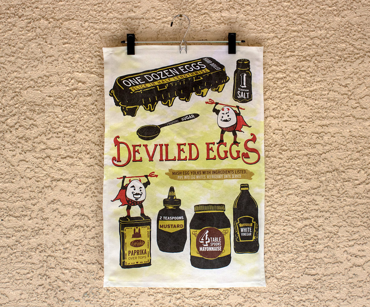 New tea towel in my shop - Deviled Eggs Illustrated Recipe