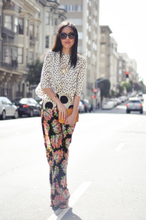 modcloth:  Ahn of 9 to 5 Chic in a perfectly mismatched floral ensemble.