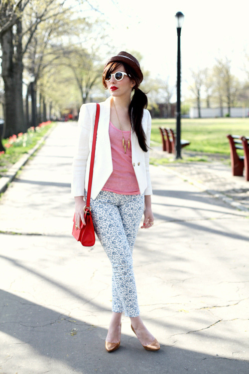 modcloth:  Keiko of Keiko Lynn in a fashion forward pair of floral jeans.