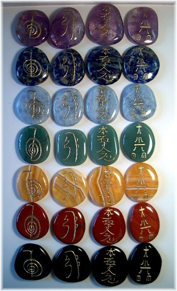 castastone:  Beautiful Reiki symbol stones in all 7 Chakra balancing colors
