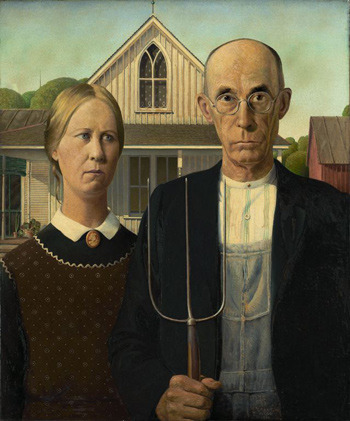 Grant Wood - (represents a father and his daughter, Grant Wood's dentist and his sister as models)