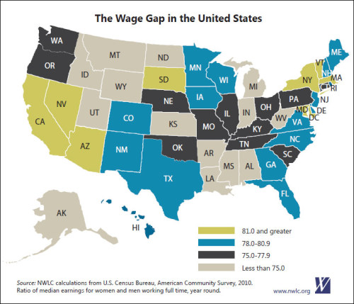 National Women's Law Center breaks down women's unequal pay by state.  Download full report here (or click to website from image): http://www.nwlc.org/sites/default/files/pdfs/womenunfairpayfactsheet.pdf