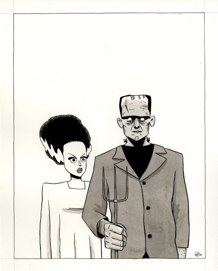 "AMERICANSTEIN GOTHIC. One of the one-hour drawings I've been doing, available for purchasing by you right here. All the ones thus far are here. Subject suggestion: ""Universal Monsters"""