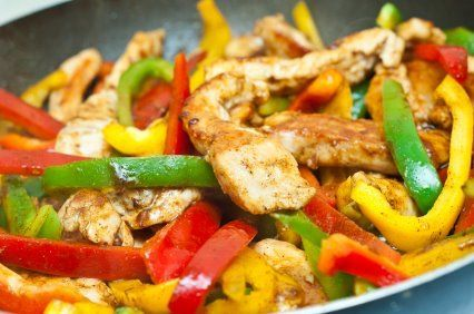 Grilled Tex-Mex Chicken – Recipe  Ingredients: • 4 chicken breasts (boneless, 6oz each) • 1 cup of Salsa • 1/3 cup of low-fat cheddar • 1 tbsp of olive oil • 1 teaspoon of garlic • 1 teaspoon of Chili Powder • 1 teaspoon of Basil • 1 teaspoon of Oregano • 1 diced Green Bell Pepper • 1 diced Red Bell Pepper • 1 teaspoon of Lime juice • Salt and Pepper  Directions 1. In a bowl, mix the salsa, olive oil, garlic, chili powder, basil, oregano, lime juice 2. Cut up chicken. Place the chicken and diced peppers in the mixture, cover and marinate in the refrigerator 8 hours or overnight 3. Place chicken mixture in aluminum foil, create pocket, add some of the marinade to keep moist and cook for approximately 30 minutes at 350 degrees F. 4. Sprinkle with cheddar cheese before serving  Nutritional Facts Calories: 266 Protein: 44g Carbohydrates: 4g Fat: 10g  More recipes: http://www.anabolicdiet.org/