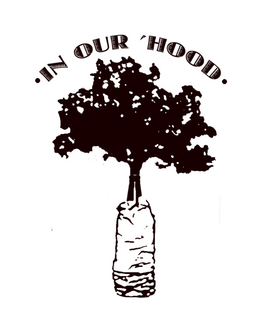 "Check out our new ""In Our Hood"" logo, designed by Allura Rayford, exhibition assistant funded by City Arts! The rest of the ""In Our Hood"" team is so proud of Allura for her hard work on this awesome graphic that embodies the spirit of gentrification ""in our hood"" and 'hoods around the nation!"