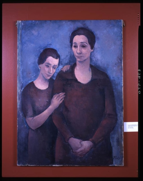 "LEAN ON MOM - AND GET READY FOR MOTHER'S DAY ON SUNDAY! Joseph Floch's painting Mother and Child portrays a mother with her adult daughter leaning on her shoulder.  The artist's depiction of the mother's body—larger than and in front of the daughter's body—suggests the daughter's reliance on, if not respect for her mother.  The portrait's sober palette of dark reds and blues, along with the facial expressions of the two women—the daughter's contented and the mother's neutral—suggest they are sharing a moment of quiet reflection.  Floch later gave this painting to his own daughter. Joseph Floch, ""Mother and Daughter,"" 1924.  Oil on canvas.  Collection of Yeshiva University Museum (1983.040)."