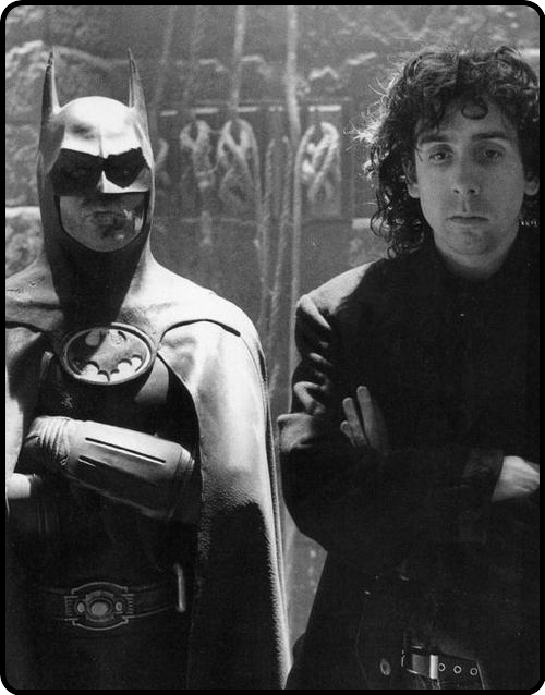Michael Keaton and Tim Burton on the set of Batman 1989.