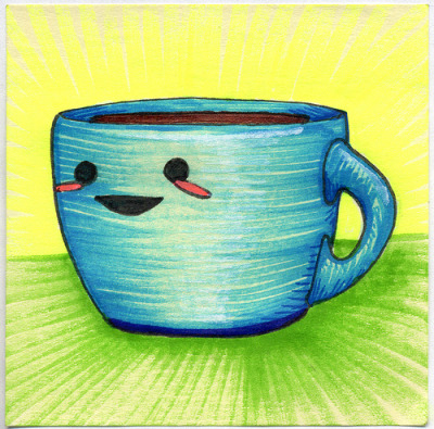 "I drew you a cutesy blue mug of coffee It's blue. It's cute. It's full of Hot Coffee. Enjoy.I figured I better use some cute to counter act the crazy scary Friday the 13th mug. Hope you like it.This is part of my ""The Daily Coffee"" marker drawing series."
