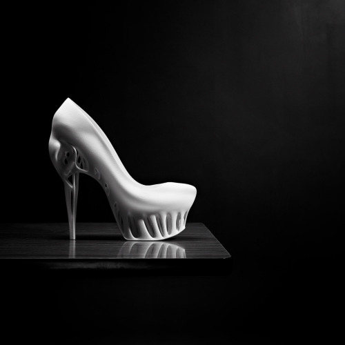 "bymarieka:  ""Biomimicry shoe"" in collaboration with Kostika Spaho Photography: Thomas van Schaik  Concept Nature could serve as a source of inspiration for a new way of designing. If we learn from its experience in the field of design, processes and lifestyles, we can develop intelligent systems, ingenious products and effective partnerships. Nature can also prove highly inspiring in the field of fashion. Above all, she can teach us to make more efficient use of materials and smarter constructions. In this regard, rapidly developing innovative technologies, such as 3D printing, may prove beneficial by offering us means of imitating nature more accurately in our designs. Nature actually functions by making efficient use of raw materials and pooling resources. This approach can also be applied in the fashion sector. The smart use of materials and cross fertilisation among various disciplines could lead to a new design perspective. The concentration of strengths and sharing of burdens creates a win-win situation for all players, a synergy."