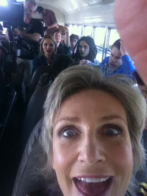fyeahgleecast:  Jane Lynch I'm driving' dah bus to Nationals. Go McKinley High!!