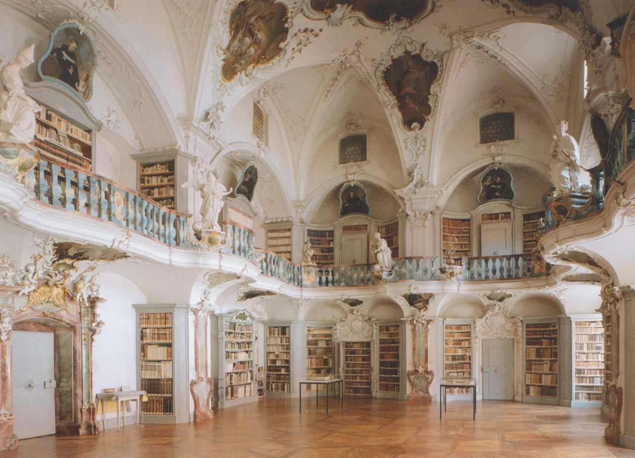 Take me here!  coffeenbooks:  micaceous:Library of St. Peter Abbey, Black Forest, Germany