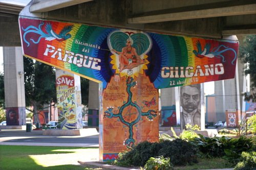 "thinkmexican:  Chicano Park Celebrates Its Status as a National Historic Monument April 21 marks the 42nd annual festival celebrating Chicano Park's ""international recognition as a major public art site for its commanding mural paintings of the past and present struggle of Mexican and Chicano history."" It's hard to believe that what was once ""street art"" littering the off ramps and the trestles of a bridge now is part of what has become one of San Diego's cultural landmarks and more, one of our National Historic Monuments. It started innocently, as all street art begins perhaps, when the neighborhood was denied local access to the beach during because the Department of Defense had other plans for the property. It was WWII, but that didn't matter. Denial of beachfront access was a source of local resentment of the government and its agencies. Read More at The Huffington Post Photo Credit: Flickr User Nathan Gibbs  ^_^ I did a photoshoot of my dad here. He asked me, ""Hey, I wanna go buy you some new Dickies, then could we maybe take a few photos in Chicano Park? we can go eat some tacos."" I WILL ALWAYS REMEMBER THIS DAY."