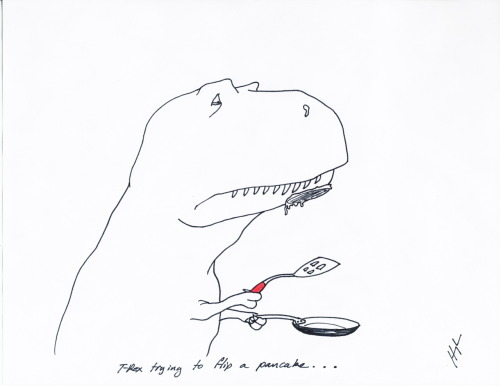 trextrying:  T-Rex Trying to Flip a Pancake… #TRexTrying