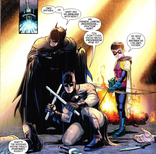 "ryley-stbatman:  fyeahbatmanandrobin:  Bruce doesn't seem on board with two people rocking the cowl at once.  I like that Damian, who initially challenged Dick's right to the mantle even when Bruce was thought dead, is the one to dismiss his father's hesitation in this panel: ""We need all the Batmen we can get, Father."" (Batman and Robin #16)  And that dismissal was what lead Bruce to the idea of Batman Incorporated."