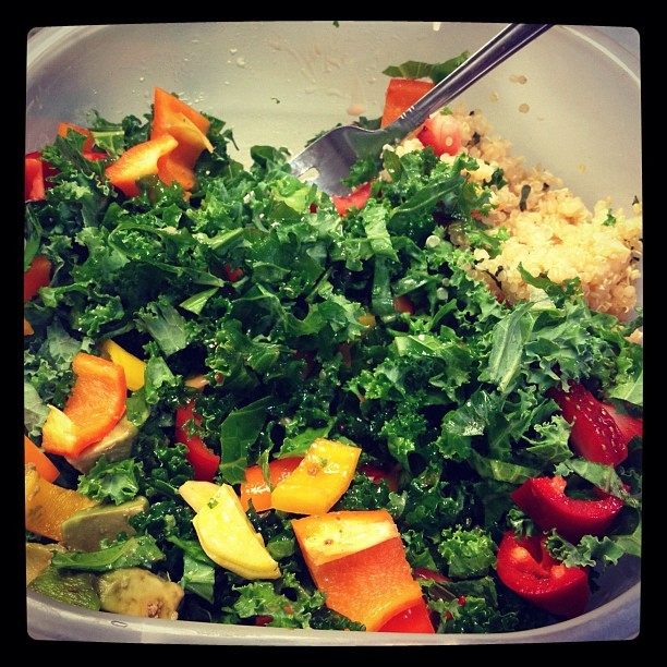 Lunch break… #intern #kale #salad #quinoa #recipelater (Taken with instagram)