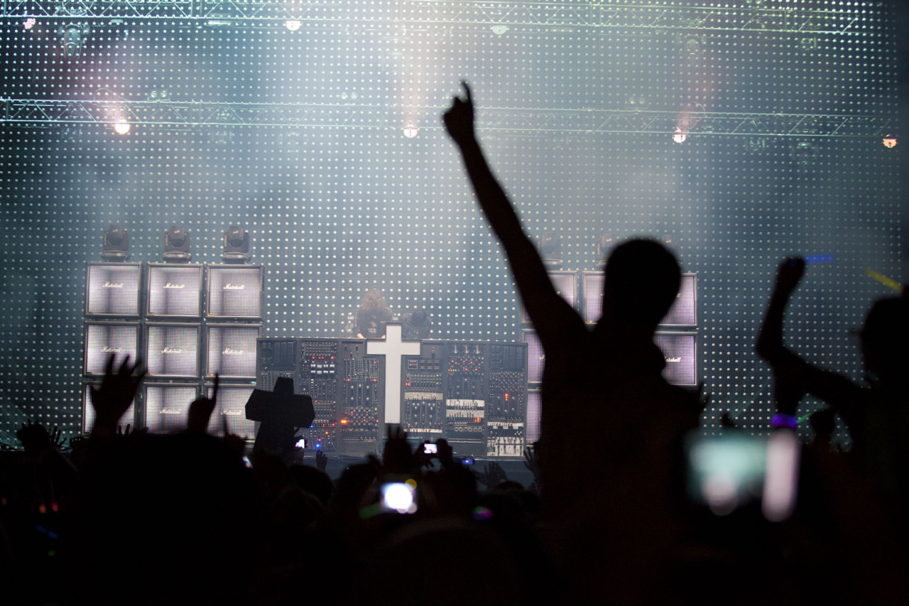 The neon church.  The Sunday crowd went bananas as Justice took the Coachella stage and here's why via Milk Made.
