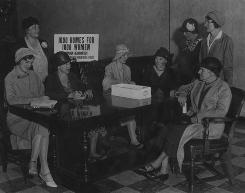 members of the Los Angeles Women's Committee for relief of unemployed women today registered women who are seeking employment as the committee opened a drive to provide jobs and homes for 1000 women within three weeks. Left to right - Mrs Julia Von Sky, co-chairman, Mrs. Susan B Lage, Mrs Henry H Lissner, chairman, Mrs Mabel E Patton, and four women seeking employment. The committee plans to aid women who face the necessity of earning their own livings for the first time, as well as regularly employed women now out of work. photo dated - April 18, 1932