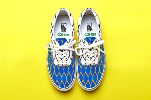 Vans x Kenzo Summer 2012 Collection A few days ago we had a sneak preview but Vans have now officially released photos of their collaboration with Paris fashion brand Kenzo. The era silhouette has been used and made vibrant with the colourways chosen on each three for the net pattern. Release due mid-May, continuing on till July once each three have dropped.
