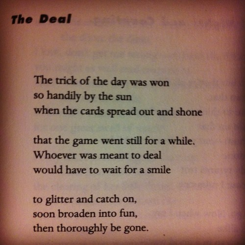 """The Deal"" by Glyn Maxwell, from HIDE NOW."