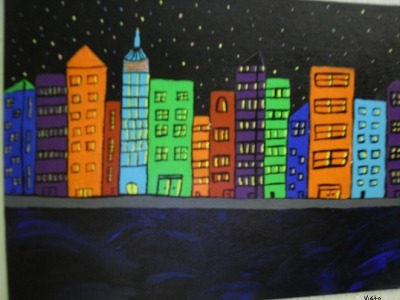 Visto City by Travis Newville. Acrylic on canvas.