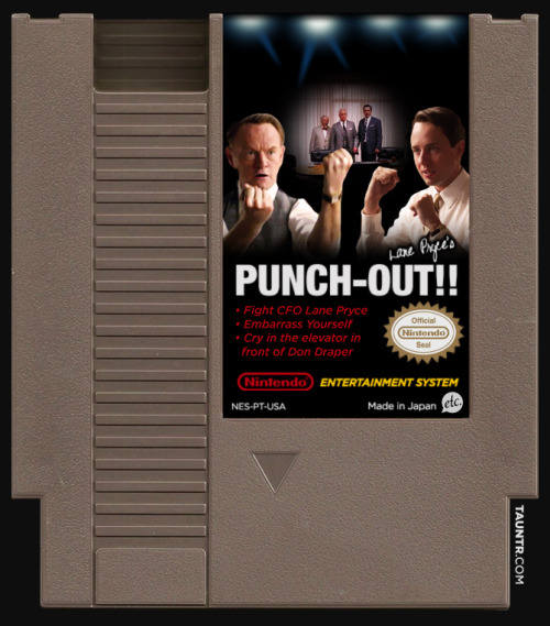 "popculturebrain:  jonnyetc:  Lane Pryce's PUNCH-OUT!! by Jon Defreest  There needs to be more Internet tributes to this landmark Mad Men moment.  ""Grimy little pimp!"""
