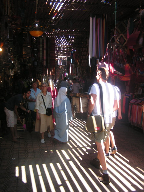 What sorts of things only filter through to you? Why?  Souk, Marrakesh, Morocco