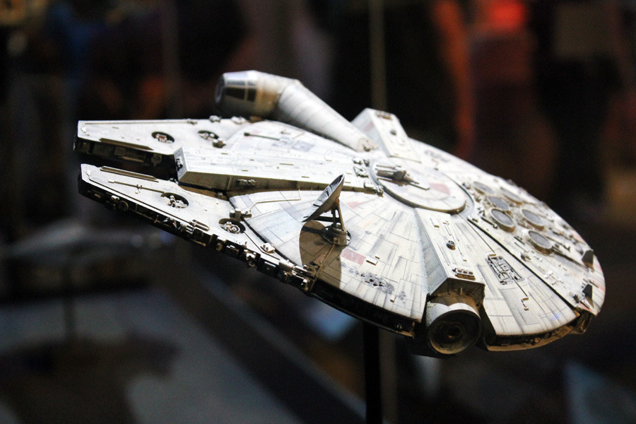 A model of the Millennium Falcon used in Episode V: The Empire Strikes Back.  This tiny version of the Millennium Falcon was created for a single scene where the Falcon hitches a ride on the backside of an unsuspecting Star Destroyer.