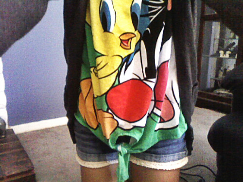 041712; looney tunes shirt with homemade laced shorts!<3