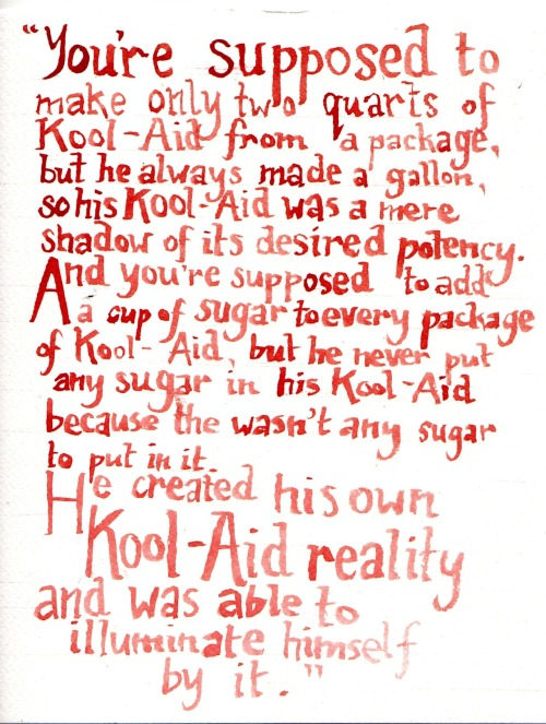 From a series of Kool-Aid paintings - accompanying text can be seen here