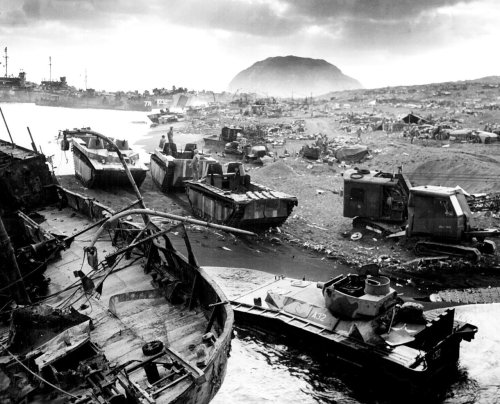 wreckage and debris left behind after the US landing on Iwo Jima