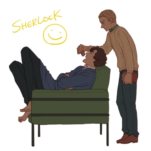 sherlockfood:  castiel-sherlock-watson:  by N町  Just eat it!  EAT IT, SHERLICK