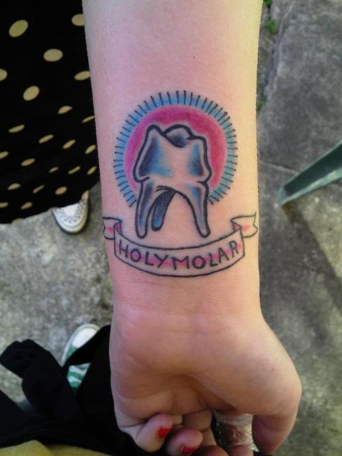 'holy molar'! wrist tattoo by my lovely ladyfriend emma @ emporium, Leicester, UK.