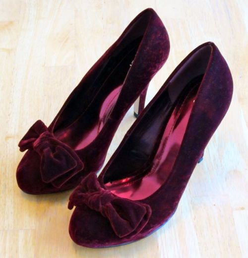 Deep burgundy velvet heels! I bought them yesterday. They are SO awesome and surprisingly comfortable! I can't really walk in them yet but for $9 I'm SO gonna try! ~.^