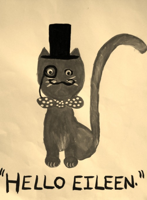 fancy monocled cat: sepia