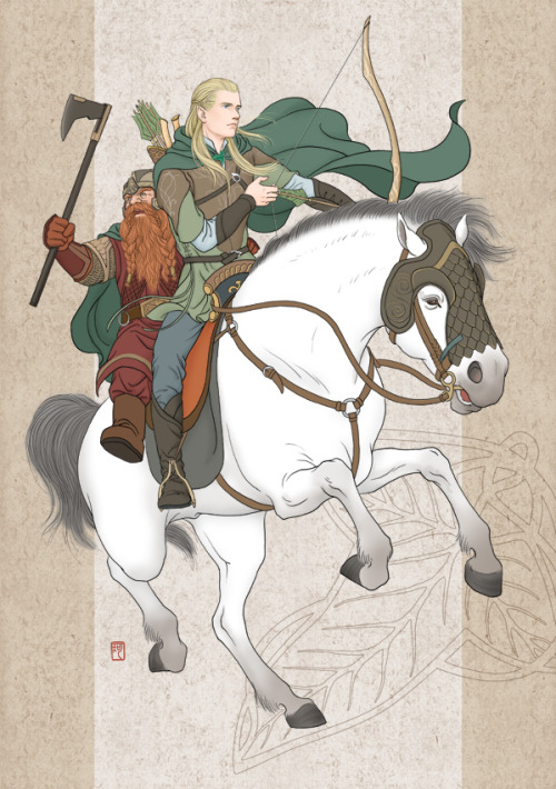 stoneofthehapless:  Legolas and Gimli; art by Anna Lee