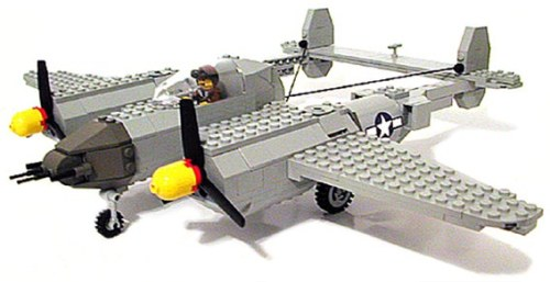 WWII U.S. Lockheed P38 Lightning 417 LEGO® piecesTwin boom design with dual 3 blade propellers and yellow/red spinners.Four nose mounted machine guns.Landing gear.U.S. insignia decals.Pilot minifigure included  Would love to convert this into the P-38M Night Lightning
