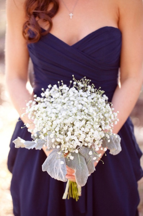 gypsophila hand tied, bridesmaid bouquet