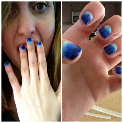 west-coast-fashion:  Ocean nails :) This was pretty easy! Paint the lightest blue all over you nail (I used Blue Lagoon by Revlon) Once it's dry put the medium shade of blue on a cosmetic sponge and dab it on to your nail, creating a shaded effect. (Pacific Blue by Sally Hansen)  Then put a darker shade of blue on a cosmetic sponge and dab it onto the nail blending it in with the medium shade of blue. ( Royal by Revlon)  Oh my goodness! I think these are super cute. I think I'm going to try doing this to my nails…