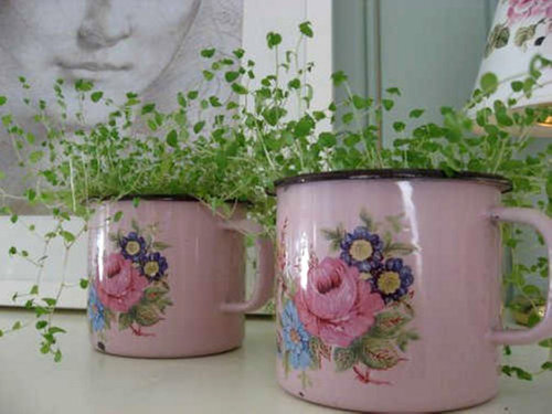 missingsisterstill:  Spring Pastel Color Vintage Tin cups (with greenery?) Decor idea's