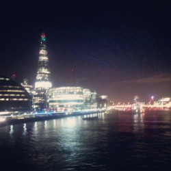 The Shard and City Hall all lit up by the.banks of.the Thames (Taken with instagram)