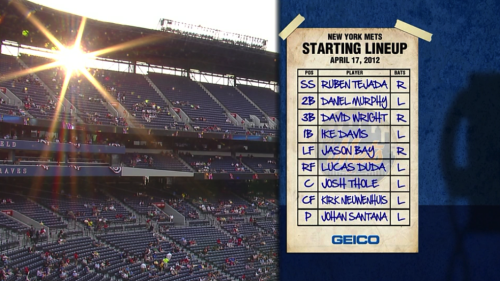 brooklynmutt:  Love how SNY presents the lineups.   The only thing better would be if it showed up blank and they had Keith fill it out with the telestrator. Barring that, this is pretty great.
