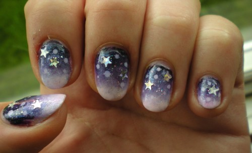 thenailadventure:  Purple Night Nail Art