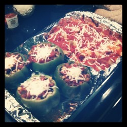 Dinner! Rice & turkey stuffed peppers (for me) & health-conscious stuffed shells (for B). He's not a huge veggie fan. A little at a time.. ;)