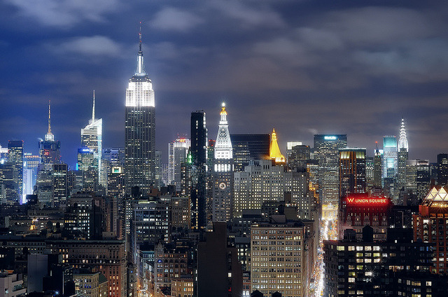 midtown manhattan at night, nyc by andrew c mace on Flickr.