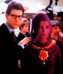 theswingingsixties:  Yves Saint Laurent with Victoire Doutreleau, 1962.
